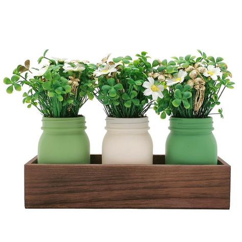 """""""Make your home decor the center of attention with this Celebrate St. Patrick's Day Together Mason Jar Artificial Clover Table Decor. Make your home decor the center of attention with this Celebrate St. Patrick's Day Together Mason Jar Artificial Clover Table Decor. Charming clover design For indoor use 8.75""""""""H x 11.875""""""""W x 3.875""""""""D Weight: 2.38 lbs. Solid wood, glass, plastic Horizontal display Wipe clean Imported Size: One Size. Color: Multicolor. Gender: unisex. Age Group: adult."""" St Patricks Day, Cleaning Wipes, Solid Wood, Mason Jars, Planter Pots, Indoor, Vase, Wood Glass, Display"""