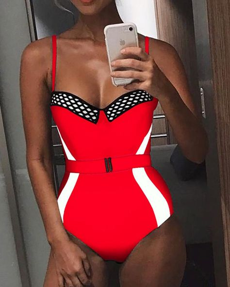 Contrast Color Fishnet Belted One piece Swimwear , Price