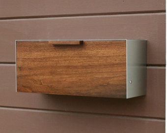 This Is A Stainless Steel And Walnut Mailbox Measuring 9w X12 5h X