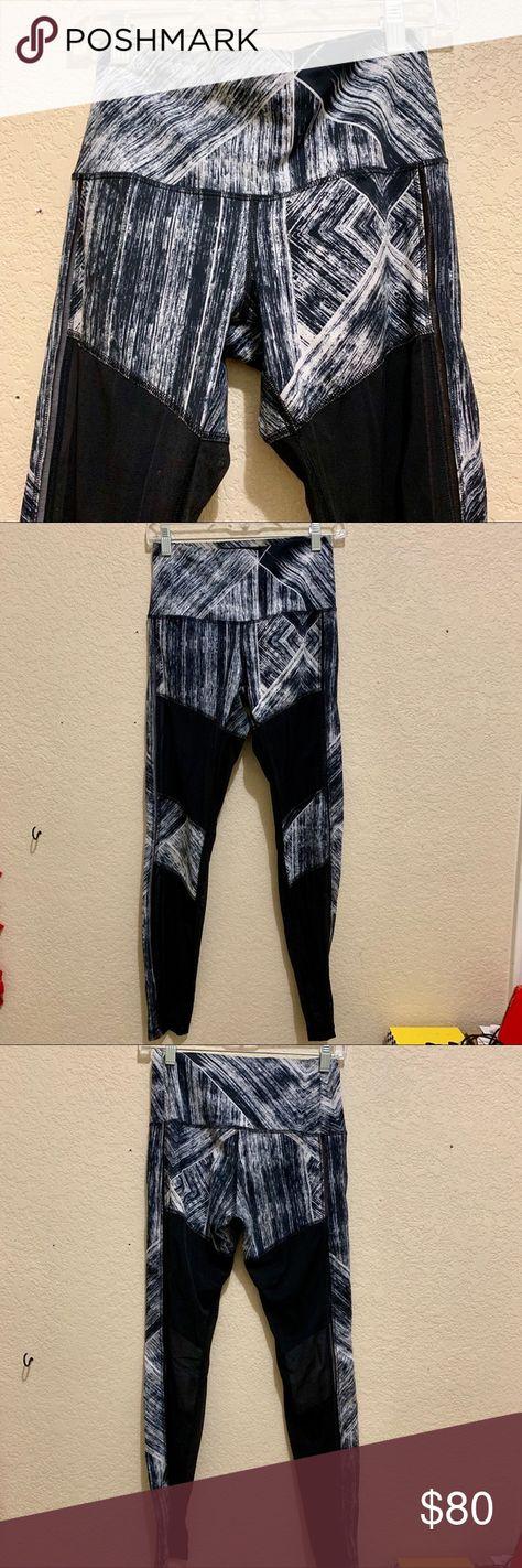 102163c5df1cef Lululemon mesh leg leggings Black & white static print mesh leggings  lululemon athletica Pants Leggings