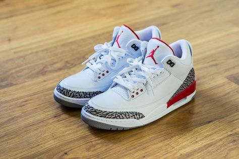 wholesale dealer 02e4b 656ac Check out this pickup video of the Air Jordan 3 Katrina. Find out where you  can still buy a pair of these White Grey Black Red Js online!