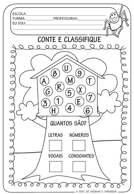 Atividade Pronta Classificacao Com Letras E Numeros Atividades