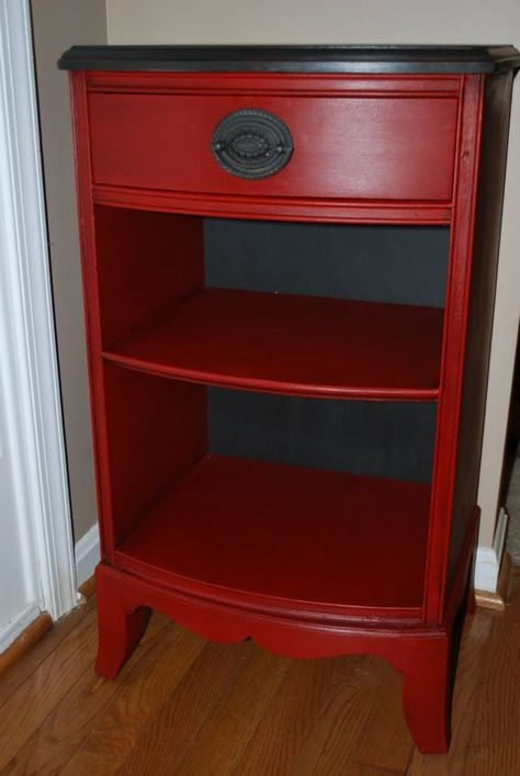 Antique Side/Accent Table painted in Annie Sloan Emperors Silk (Red) and Graphite on Top with dark wax