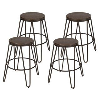 Magnificent Carbon Loft Hall Backless Two Tone Wood And Metal Bar Stools Dailytribune Chair Design For Home Dailytribuneorg