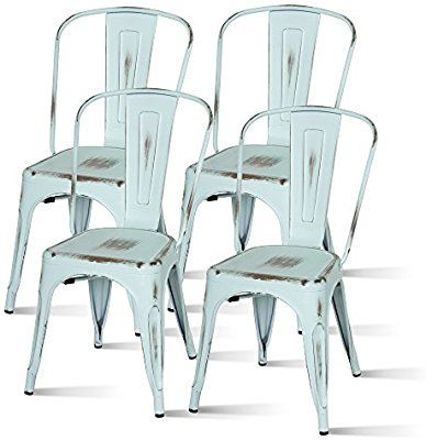 Amazon Com New Pacific Direct Metropolis Metal Side Chair Distressed Blue Set Of 4 Kitchen Din With Images Metal Side Chair Farmhouse Table Chairs Metal Kitchen Chairs