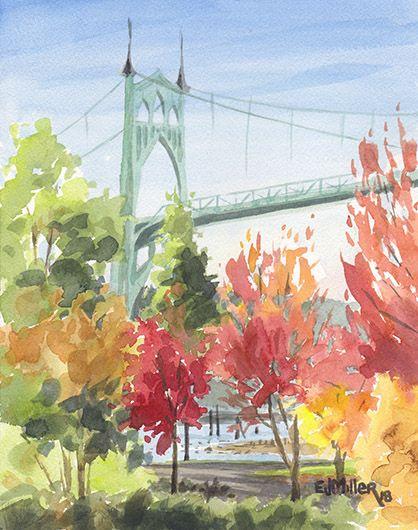 Autumn Color At St John S Bridge Oregon Art By Emily Miller