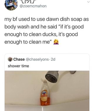 My Bf Used To Use Dawn Dish Soap As Body Wash And He Said If It S Good Enough To Clean Ducks It S Good Enough To Clean Me 2 Chase Chaselyons 2d Shower