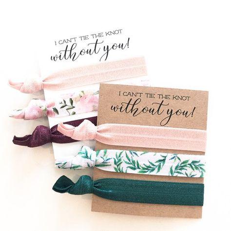 You Design | Hair Tie Bridesmaid Gifts, Blush Pink, Emerald + Sage Green Floral Hair Ties, Bridesmaid Proposal, Maid of Honor Proposal Gift