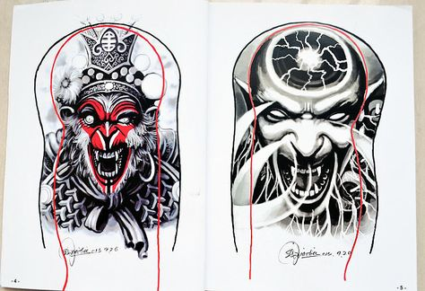 2015-New-Tattoo-Book-Skull-KOI-Hannya-God-Dragon-Tattoo-Designs-for-Arm-Leg-Back-Tattoo.jpg (730×500)