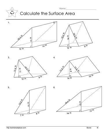 Triangular Prism Area Triangular Prism Area Worksheets Geometry Worksheets