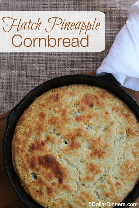 Hatch Pineapple Cornbread Recipe ~ a from-scratch cornbread that is perfect with any chili recipe!  5DollarDinners.com
