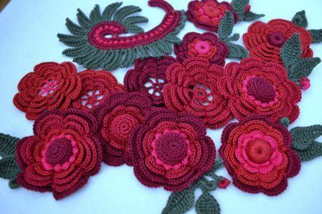 10Pcs Hand Crochet Applique Cherry Flowers Handmade Knitted Floral Art Craft