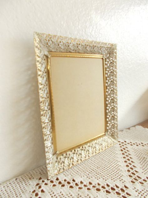 Vintage Ornate Gold Metal Picture Frame 8 X 10 Photo Rustic Shabby