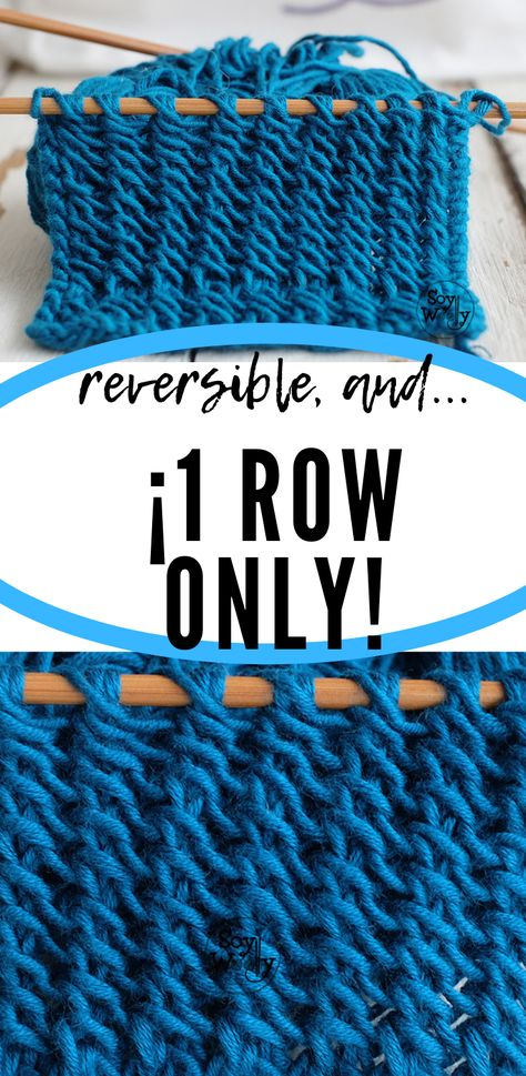 One row lace stitch: only 3 steps, identical on both sides and it doesn't curl