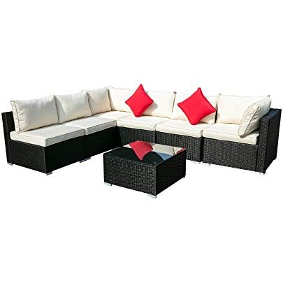 Outdoor Wicker Patio Furniture, Dineli Patio Furniture Sectional Sofa With Gas Fire Pit Table