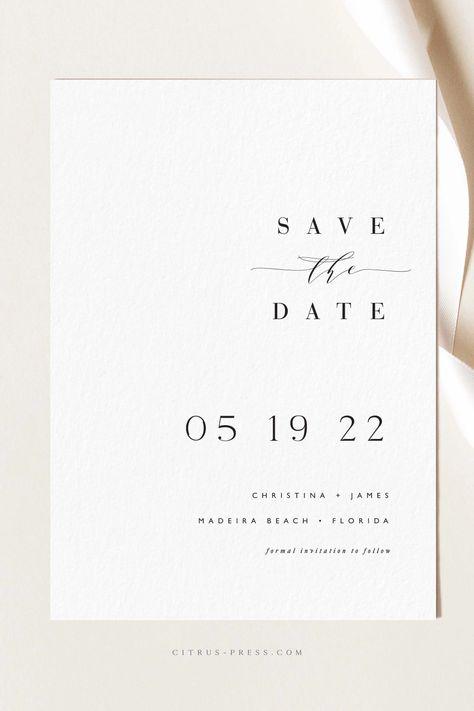 Minimal Modern Save the Date Card Minimalist Invitation, Minimalist Wedding Invitations, Simple Wedding Invitations, Save The Date Invitations, Printable Wedding Invitations, Wedding Invitation Design, Wedding Stationary, Save The Date Cards, Simple Wedding Cards