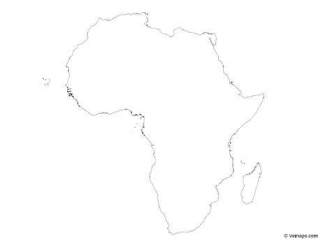 Outline Map Of Africa Free Vector Maps Africa Map Africa Outline Africa Painting
