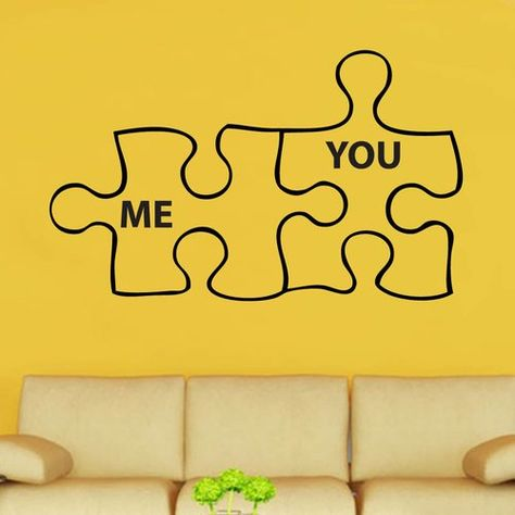 Me You Duo Jigsaw Decal Vinyl Wall Sticker Kult Kanvas Colour Brilliant Blue Size Extra Large Vinyl Wall Stickers Wall Stickers Heart Wall Stickers