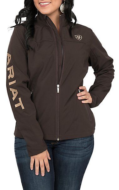 a37699d9f Ariat Women's Coffee Bean Logos Long Sleeve Soft Shell Jacket ...
