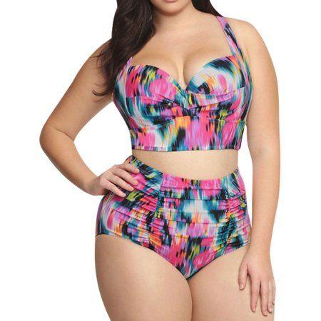 Free Shipping Buy Starvnc Women Oversized Two Piece High Waist Bikini Set Swimsuit At Walmart Com Plus Size Bikini Bikini Set High Waist Plus Size Bikini Set