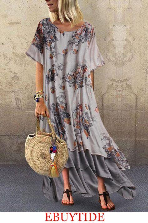 Women Ladies Splice Short Sleeve Long Dress Plus Size Loose Maxi Dresses Summer