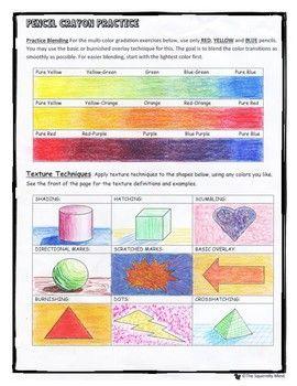 Colored Pencil Techniques Art Worksheet In 2020 Colored Pencil