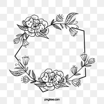 Black Hand Drawn Line Side Wedding Decoration With Polygon Surrounded By Blooming Flower Plant Vine How To Draw Hands Hand Embroidery Patterns Free Vine Border