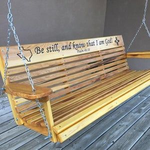 Porch Swing With Farmhouse Details X Back Outdoor Etsy Porch Swing Exterior Wood Stain Swing Design