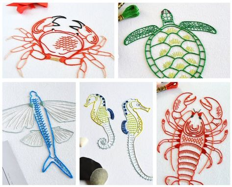 Read the full title Anatomical Sea Creatures hand embroidery pattern, five modern embroidery PDF patterns for a crab, flying fish, lobster, seahorses and turtle