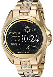 Michael Kors Access Touch Screen Gold Bradshaw Smartwatch MKT5002Powered by Android Wear. Compatible with iPhone and Android devices. Technology meets style with our Michael Kors Access Collection. Fully personalize your watch by selecting or customizing the watch face of your choice and changing out the straps to match your activity or look. Stay connected with display notifications including texts, calls, emails, and keep track of your fitness goals by tracking your sleep, steps, and…