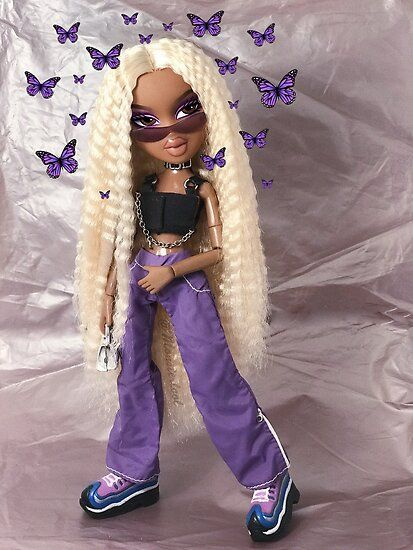 'Bratz Butterfly Punk Sasha ' Poster by Monsterlool Bratz Butterfly Punk Sasha Poster nails butterfly Bratz Doll Makeup, Bratz Doll Outfits, Black Girl Cartoon, Black Girl Art, Black Girl Aesthetic, Purple Aesthetic, Black Bratz Doll, Bratz Girls, Brat Doll