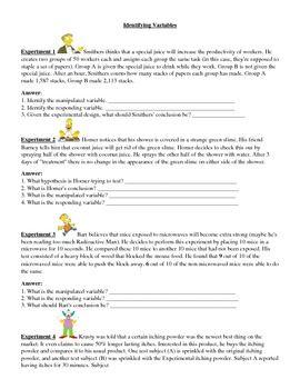 Identify Variables Worksheets Worksheets Variables Identify