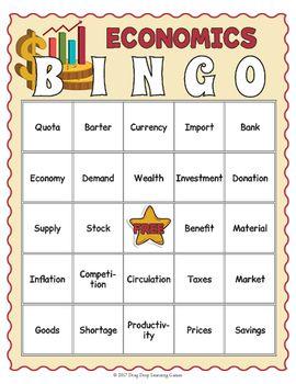Economics Bingo Economics For Kids Economics Vocabulary Teaching Economics Economics Lessons Economics For Kids