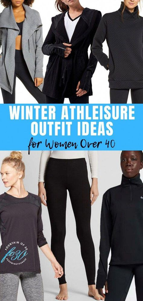 Here's how to wear winter athleisure fashion. See these outfit ideas for women over 40. #fashion #over40 #athleisure #leggings #athleticwear #fashiontipsforwomenover40
