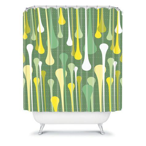 Heather Dutton Droplets Shower Curtain Green Chartreuse Emerald Kelly Avocado Sage Pattern Home Decor Bath Bathroom