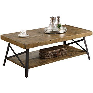Emerald Home Chandler Rustic Industrial Solid Wood And Steel Coffee Table With Open Shelf Farm Coffee Table Industrial Style Coffee Table Rustic Coffee Tables
