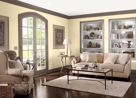 This is the project I created on Behr.com. I used these colors: SOFT BUTTERCUP(P290-1),NANO WHITE(HDC-MD-06),SWISS BROWN(N210-6),