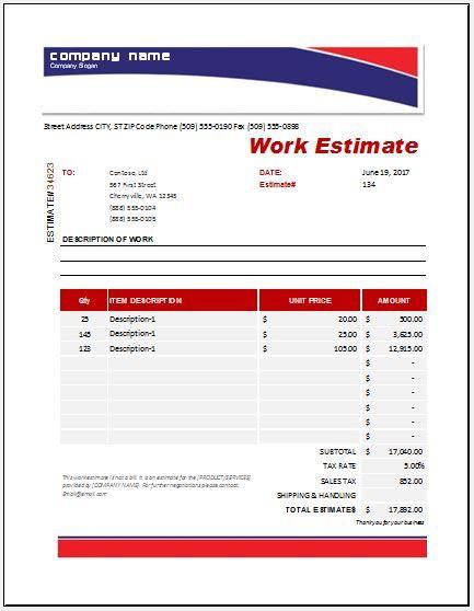 19 Work Estimate Templates Estimate Template Excel Templates