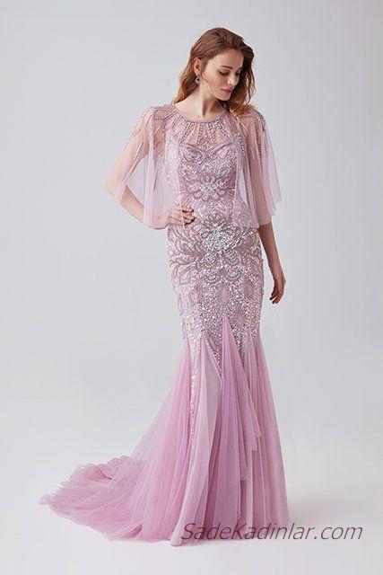 2019 Abiye Elbise Modelleri Lila Uzun Yetim Tul Kol Boncuk Islemeli Tul Etekli Elbise Modelleri Elbise Elbiseler