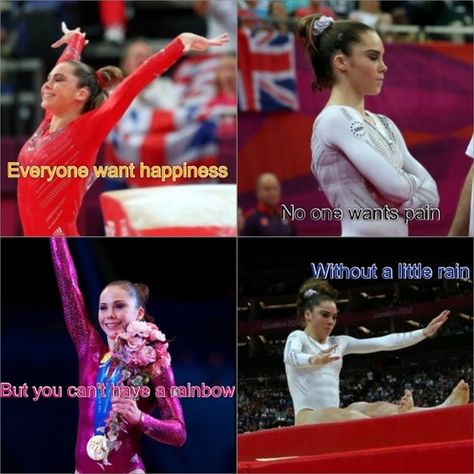 Gotta Love Gymnastics Everyone wats happiness, no one wants pain, but you can't have a rainbow, without a little rain Gymnastics Tricks, Gymnastics Poses, Gymnastics Workout, Sport Gymnastics, Olympic Gymnastics, Olympic Games, Gymnastics Facts, Gymnastics Stuff, Funny Gymnastics Quotes