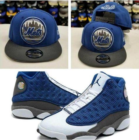9b4b367fd8c4d Matching New Era 9Fifty New York Mets snapback hat for Air Jordan 13 Flint