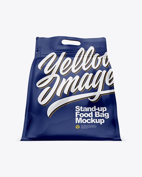 Download PSD Glossy Stand-up Food Bag Mockup - Hero Shot Free
