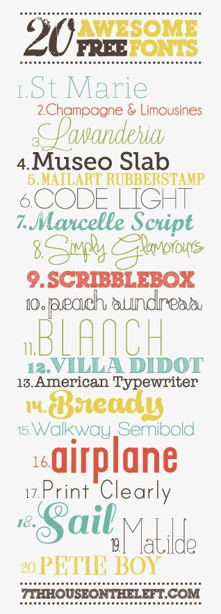 20 Awesome Free Fonts from 7th House on the Left