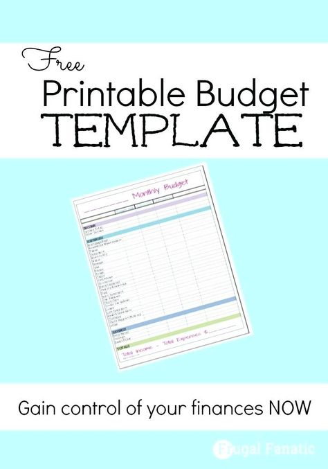 Free Monthly Budget Template Frugal Fanatic Budget Template For Budget Template Printable Monthly Budget Template Budget Template