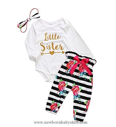 a92dc97e8153 Baby Girl Clothes Baby Girls Little Sister Bodysuit Tops Floral ...
