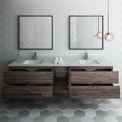 Fresca Formosa 84 Wall Mounted Double Bathroom Vanity Set With Mirror Wayfair Modern Bathroom Vanity Bathroom Design Modern Bathroom