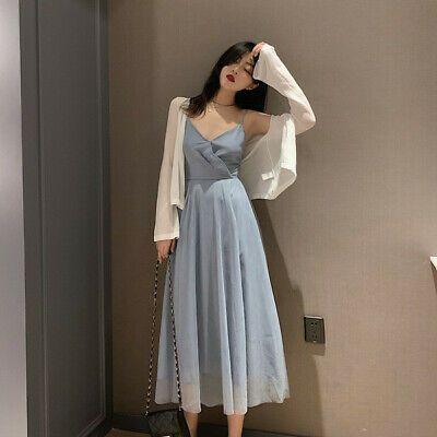 (eBay link) korean style V-neck high waist thin mesh pleated skirt women 2019 summer new sli  #clothing …   Vestidos estilosos, Vestidos glamourosos, Looks vestidos