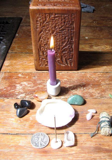 traveling altar all set up by dandelionlady