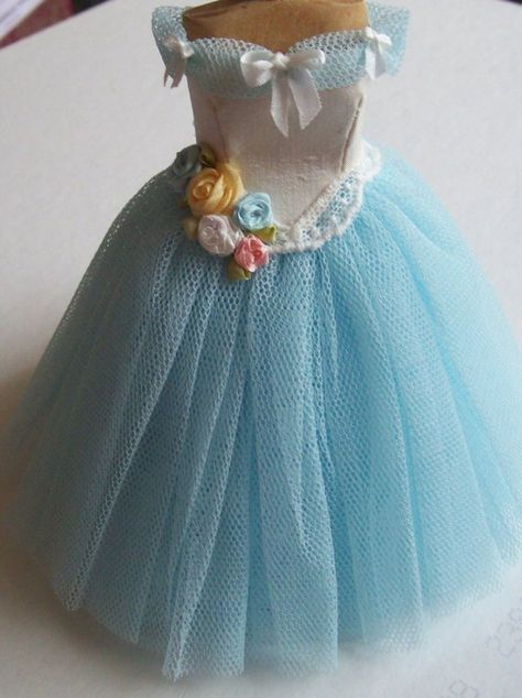 Pale turquoise net ball gown on mannequin scale dollhouse miniature handmade