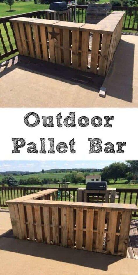 DIY Outdoor Pallet Bar from 1001 Pallets bars diy Pallet Garden Furniture, Diy Outdoor Furniture, Pallets Garden, Diy Furniture Projects, Easy Projects, Outdoor Pallet Bar, Outdoor Pallet Projects, Wood Pallet Bar, Outdoor Bars
